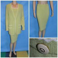 St John Collection Green Jacket Skirt Top XL L 14 12 3pc Suit Cream Trims Button