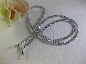 "PETITE 25"" Long SPECTACULAR SILVER Czech Bi-Cone Crystal Beaded Eyeglass Chain"