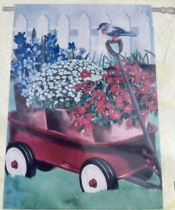NEW LARGE EVERGREEN DOUBLE SIDED AMERICANA RED WAGON FLAG 29 X 43 GARDEN