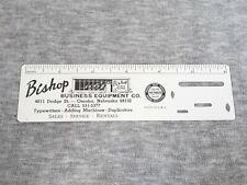 Vintage Small Plastic Ruler Advertising Bishop Business Equipment Omaha Nebraska