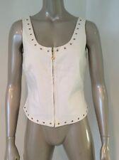 St. John Sport White Cotton Gold Grommet Zip Front Tank Camisole Vest Top Size 6