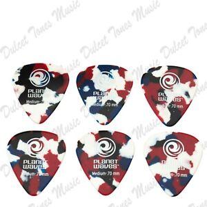 6 x MEDIUM Planet Waves Multi-Colour Guitar Pick Plectrum 0.70mm *FAST DELIVERY*