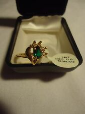 Stone Swirl Ring Size 6 May Birthstone 14K Electroplate 4 Cubic Zirconia 1 Green