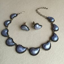 Vintage SILVER Tone BLUE Moonglow GLASS Cabochon CHOKER Necklace EARRINGS Set