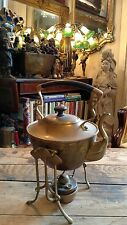 ANTIQUE BRASS KETTLE TEAPOT WITH STAND AND COPPER BURNER