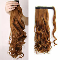 "15-26"" Long Wavy Wrap Around Ponytail Extension100% Remy Human Hair Ponytail 80g"