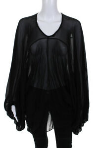 See by Chloe Womens Pullover Long Sleeve Oversized Sheer Shirt Black Silk Size 2
