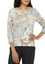 ALFRED DUNNER® M Eskimo Kiss Embellished Print Sweater NWT $66