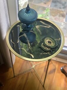 NEW Black/Gold Resin Side Table With Iron Frame - Also Used As A Detachable Tray