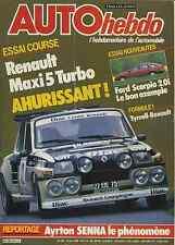 AUTO HEBDO n°475 13 JUIN 1985 SENNA R5 MAXI TURBO FORD SCORPIO 2.0
