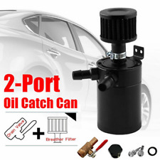 Black 2-Port Aluminum Baffled Oil Catch Can Tank w/Drain Valve&Breather Filter