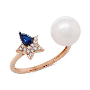0.38 TCW 14K Rose Gold Natural Fresh Water Pearl Blue Sapphire Diamond Star Ring