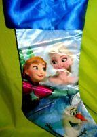 Disney Frozen Christmas Stocking Blue Anna Elsa And Olaf Brand New Satin Shiny