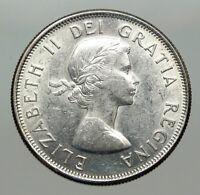 1962 CANADA Queen Elizabeth II Arms Crown VINTAGE SILVER 50 Cents Coin i85087