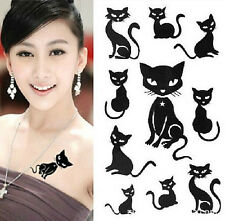 FD972 Removable Waterproof Temporary Tattoo Body Stickers ~Lovely Black Cat~ 1pc