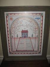 "Folk Artist Valerie Evers Wenk ""Home Sweet Home"" Signed Print w/ Barnwood Frame"