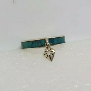 Rare Silpada Sterling Silver Turquoise Band Rong w dangle diamond Size 7