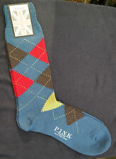 Thomas Pink Mens Merino Wool Socks UK 6-8.5 EU 39-42 Argyle Blue Red Made in UK