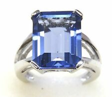#R575 10.67ct Emerald Cut Twilight Helenite White Gold Over Sterling Silver Ring