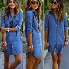 Women's Turndown Denim Look Long Sleeve Casual Long Tops Shirt Jeans Short Dress
