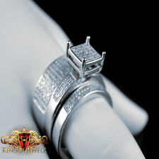 Genuine Diamond Trio Set Engagement Ring Wedding Band White Gold Finish 0.70 Ct