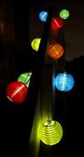 10 Pc Solar Powered White Led Chinese Fabric Lantern Hanging String Lights