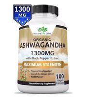[NEW] Organic Ashwagandha 1300mg - 100 vegan capsules 100% Pure Organic