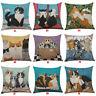 18'' Cute Cat Pattern Sofa Decor Pillow Case Cotton Linen Cushion Cover