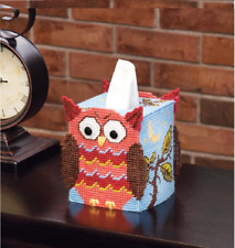 Mary Maxim PLASTIC CANVAS KIT Tissue Box Cover 7 Count OWL