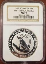Australia 1992 Silver 1 Oz Kookaburra Coin Ngc Ms 70 Perfect Grade *Rare*