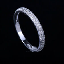Wedding&Anniversary Couple Ring Band Solid 10K White Gold Natural 0.3ct Diamond