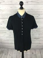 TED BAKER Polo Shirt - Size 3 Medium - Black - Great Condition - Men's