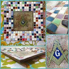 VTG 1970s Retro Mosaic Ceramic Tile Masonic Lodge Symbol Tray Dish Freemason