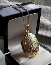 STAMPED LARGE REAL 18CT LOCKET NECKLACE GF STUNNING LOCKET 9ct gold bling 68