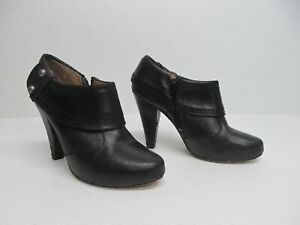 Seychelles Black Leather Zip Cuff Heeled Ankle Booties Size Women's 8M