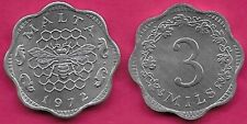 MALTA 3 MIL 1972 UNC BEE AND HONEYCOMB,(SCALLOPED)VALUE WITHIN 3/4 WREATH