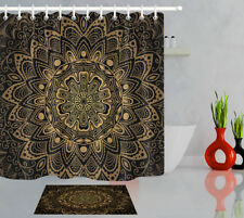 Abstract Retro Mandala Flower 100% Polyester Fabric Shower Curtain Bathroom Set