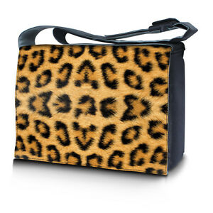 """15.6"""" 15"""" Laptop Notebook Padded Compartment Shoulder Messenger Bag Leopard N12"""