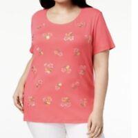 Karen Scott women's 2X tunic top tee short sleeve embroidered floral coral peach