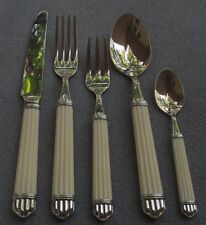 5 Piece Place Setting Christofle Acier Aria-Ivory Stainless Steel Flatware Mint
