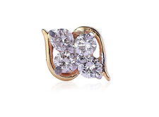 Stud In Fine Hallmark 18K Yellow Gold 0.14 Cts Round Brilliant Cut Diamonds Nose