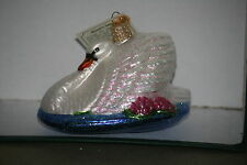 "Monet""s Swan  Old World Christmas glass ornament"