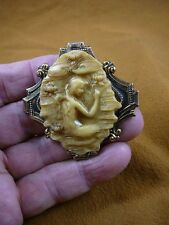 (CM174-8) Mermaid lady of lake water Lily pads ivory cameo Pin Pendant brooch