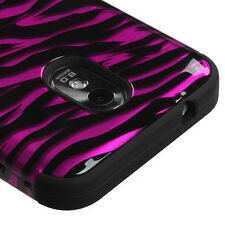 Samsung Galaxy S2 D710 (Sprint) - Pink Black Zebra Hard & Soft Armor Case Cover