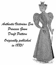 1885 Victorian Princess Gown Dress Draft Pattern Historical Village Reenact 2
