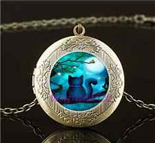 Vintage Cat With Moon Cabochon Glass Brass Chain Locket Pendant Necklace