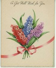 VINTAGE PURPLE BLUE RED LILAC FLOWER RIBBON PICTURE OLD GREETING CARD ART PRINT