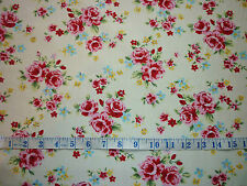 CLEARANCE FQ BRIGHT VINTAGE ROSE BLOSSOM FLOWERS FABRIC SHABBY CHIC KITSCH