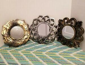 """DECO MIRROR"" lot of 3 Black Gold, black silver S Glass Plastic Home 9.5x9.5.NEW"