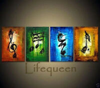 LMOP198 100% hand-painted 4pcs abstract music art OIL PAINTING on CANVAS ART